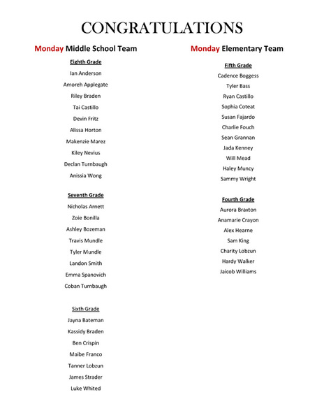 Picture ARCHERY ROSTERS